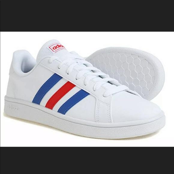 NWT Adidas Grand Court Base Blue & Red Stripes